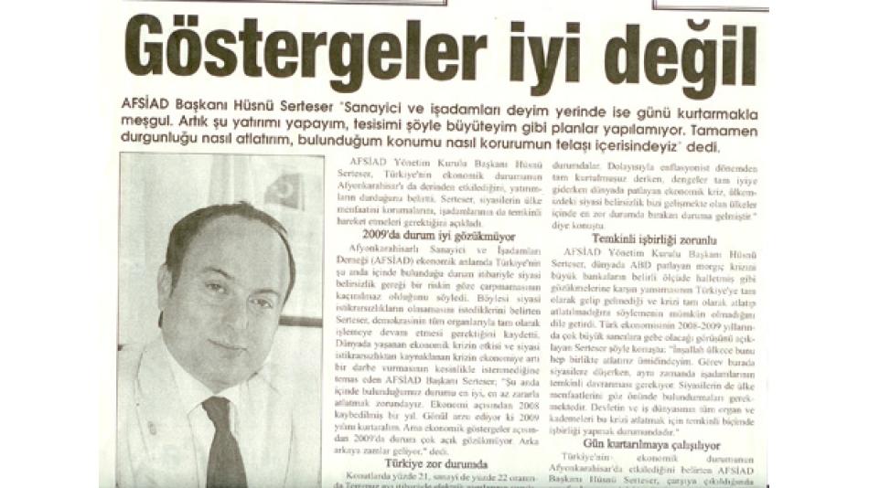 GÖSTERGELER İYİ DEĞİL - İlkHaber Gazetesi-30.Haziran.2008