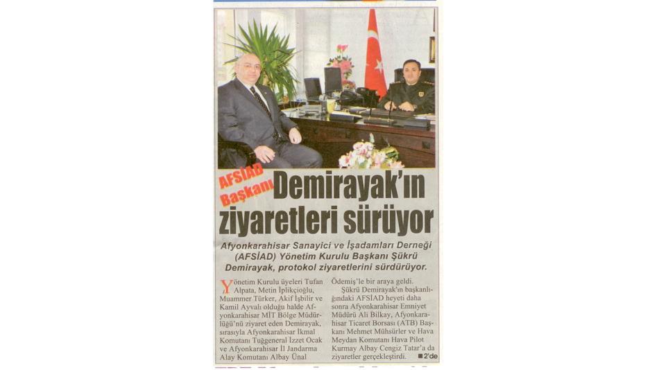 AFSİAD Başkanı Demirayak''ın ziyaretleri sürüyor - Gazete3 - 08.Nisan.2009'