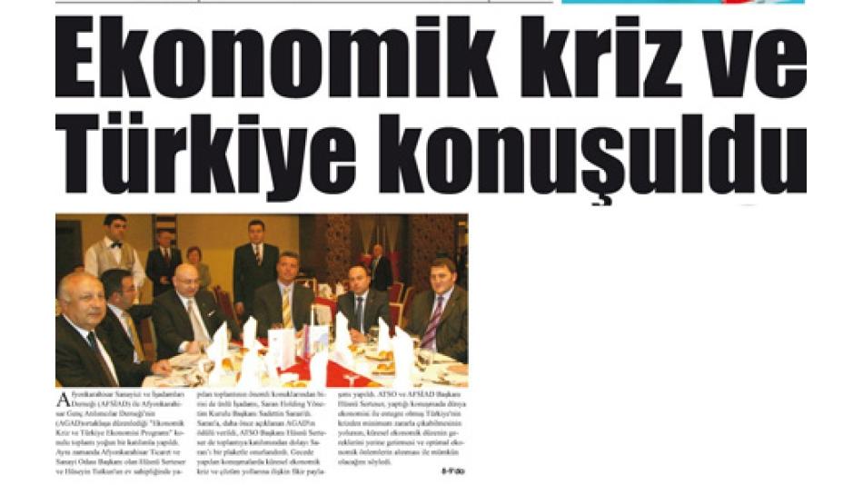 'Ekonomik kriz ve Türkiye konuşuldu- Gazete3-19.3.2009'
