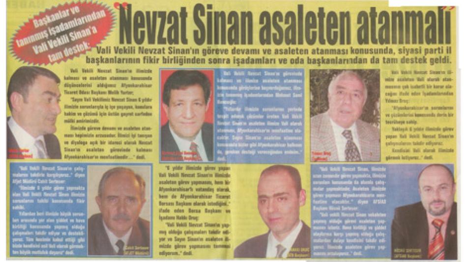 NEVZAT SİNAN ASALETEN ATANMALI - ZAFER GAZETESİ 16 ŞUBAT 2007