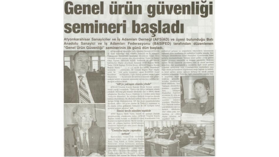 GENEL ÜRÜN GÜVENLİĞİ SEMİNERİ BAŞLADI - KURTULUŞ GAZETESİ 17 OCAK 2007