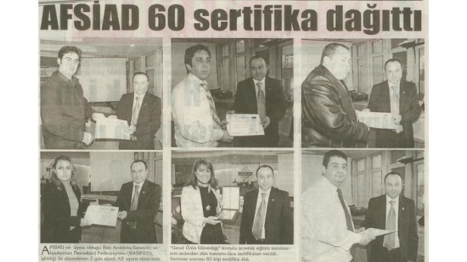 AFSİAD 60 SERTİFİKA DAĞITTI - KOCATEPE GAZETESİ 17 OCAK 2007'