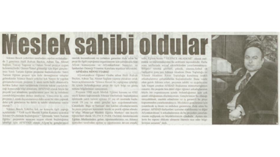 MESLEK SAHİBİ OLDULAR - ZAFER GAZETESİ 02 KASIM 2006