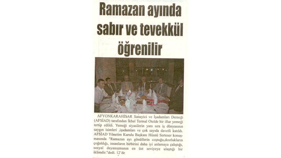 Ramazan ayında sabır ve tevekkül öğrenilir - Kurtuluş Gazetesi -19.Eylül.2008