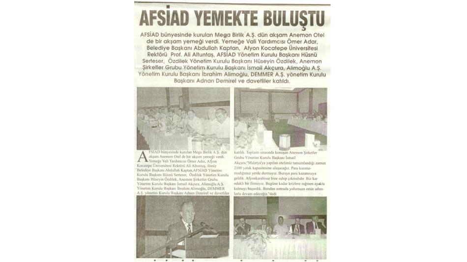 AFSİAD YEMEKTE BULUŞTU -Kurtuluş Gazetesi- 07.Ağustos.2008