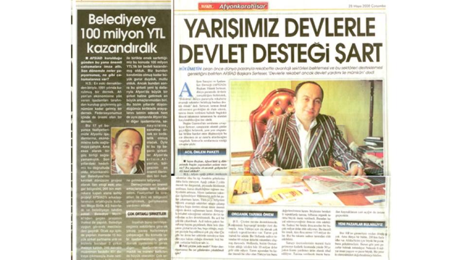 YARIŞIMIZ DEVLERLE DEVLET DESTEĞİ ŞART - BUGÜN GAZETESİ AFYONKARAHİSAR EKİ - 28.Mayıs.2008