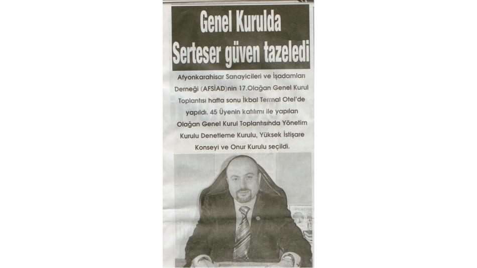Genel Kurulda Serteser güven tazeledi - Görüntü Gazetesi - 28.Ocak.2008