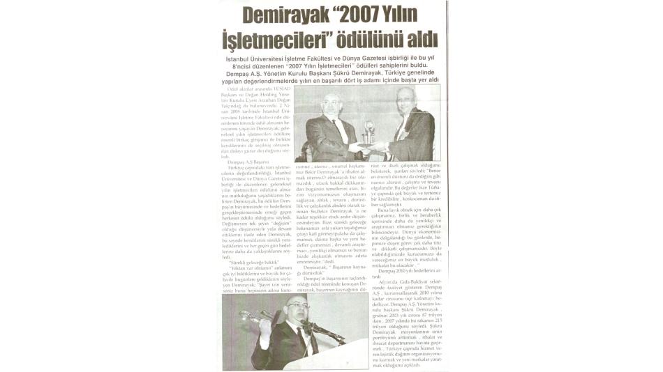 """Demirayak""""2007 Yılın İşletmecileri """"Ödülünü Aldı - Türkeli Gazetesi - 03.Nisan.2008"""