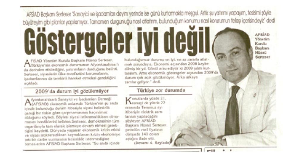 GÖSTERGELER İYİ DEĞİL - Kocatepe Gazetesi - 28.Haziran.2008