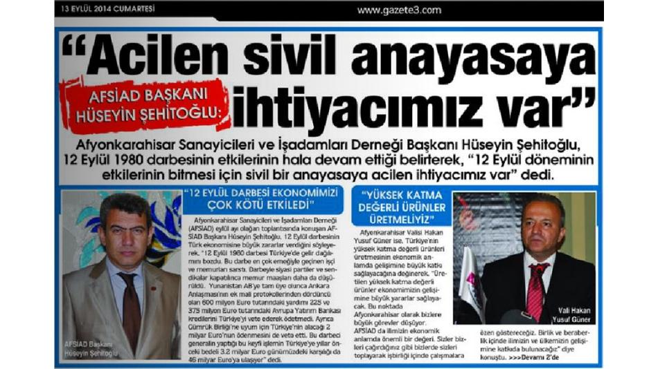 AFSİAD Başkanı Hüseyin ŞEHİTOĞLU: '12 Eylül döneminin etkilerinin bitmesi için sivil bir anayasa acilen ihtiyacımız var' dedi...