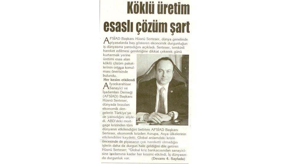 Köklü Üretim Esaslı Çözüm Şart- Kocatepe Gazetesi