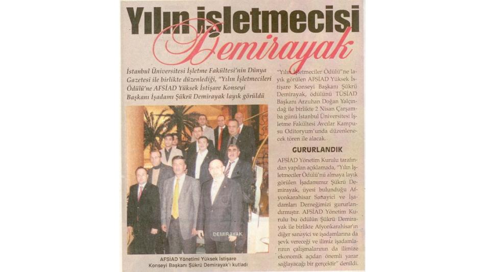 Yılın İşletmecisi DEMİRAYAK- Odak Gazetesi - 01.Nisan.2008