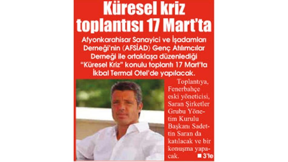 'Küresel Kriz Toplantısı 17.Mart''ta - Gazete3-12.Mart.2009',