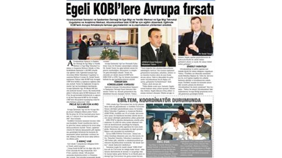 Egeli KOBİ''lere Avrupa fırsatı -Gazete3 16.Aralık.2009',