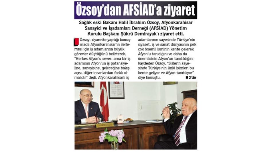 Özsoy''dan AFSİAD'' a ziyaret- Gazete3 - 12.05.2009',