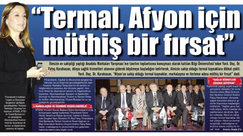 Termal Afyon için Müthiş Bir Fırsat Gazete 3 11.12.2010'