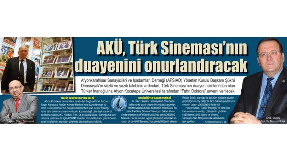 AKÜ,Türk sineması''nın duayenini onurlandıracak -Gazete 3- 29.Kasım.2011'