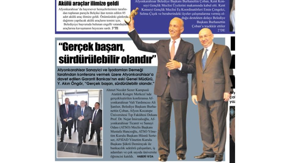 """'Gerçek başarı,sürdürülebilir olandır"""" Gazet3- 26.Mayıs.2010'"""