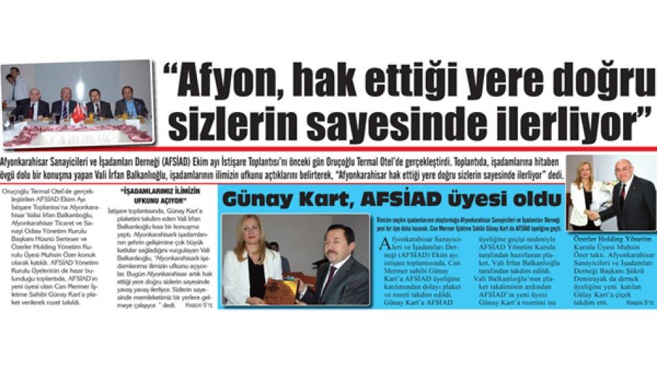 AFSİAD Ekim Ayı İstişare Toplantısını yaptı'