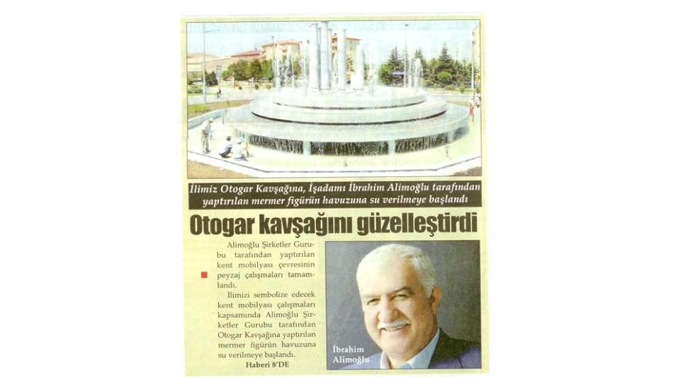 Otogar Kavşağı Güzelleşiyor- Türkeli Gazetesi - 16.Ağustos.2008'