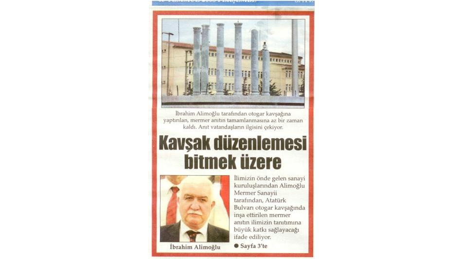 KAVŞAK DÜZENLEMESİ BİTMEK ÜZERE - TÜRKELİ GAZETESİ - 03.Temmuz.2008'