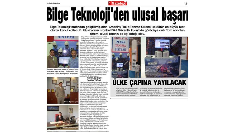 Bilge Teknoloji''den Ulusal Başarı - Gazete 3 - 02.Eylül.2008