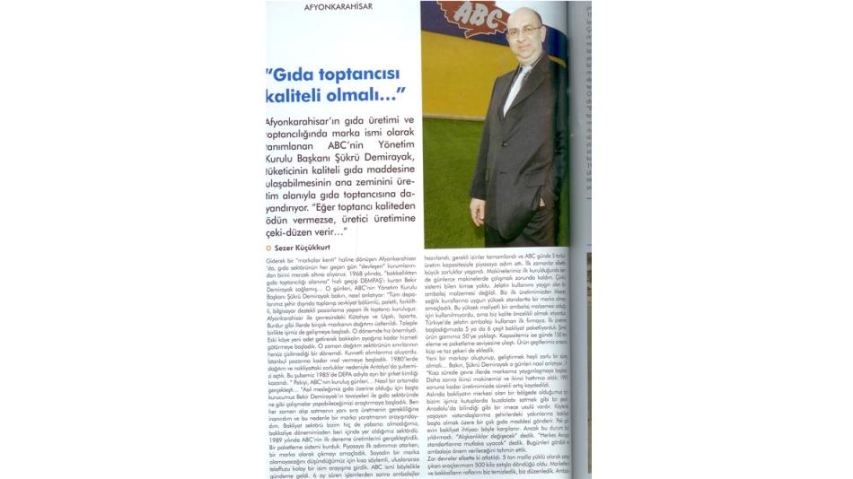 Gıda Toptancısı Kaliteli Olmalı - Bölgevizyon Dergisi-Haziran 2008'