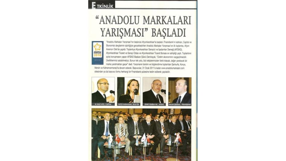 """""""Anadolu Markaları Yarışması """"başladı. Capital Dergisi"""