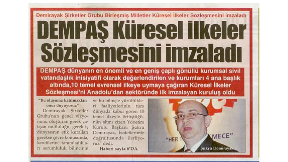 'DEMPAŞ Küresel İlkeler Sözleşmesini İmzaladı - Türkeli Gazetesi - 24.07.2008