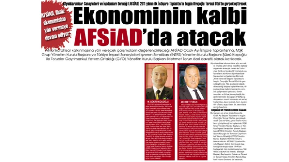 'Ekonominin kalbi AFSİAD''da atacak- Gazete3 -28.Ocak.2011