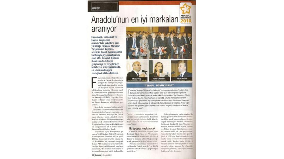 'Anadolu''nun en iyi markaları aranıyor. Ekonomist Dergisi 19.Aralık.2010',