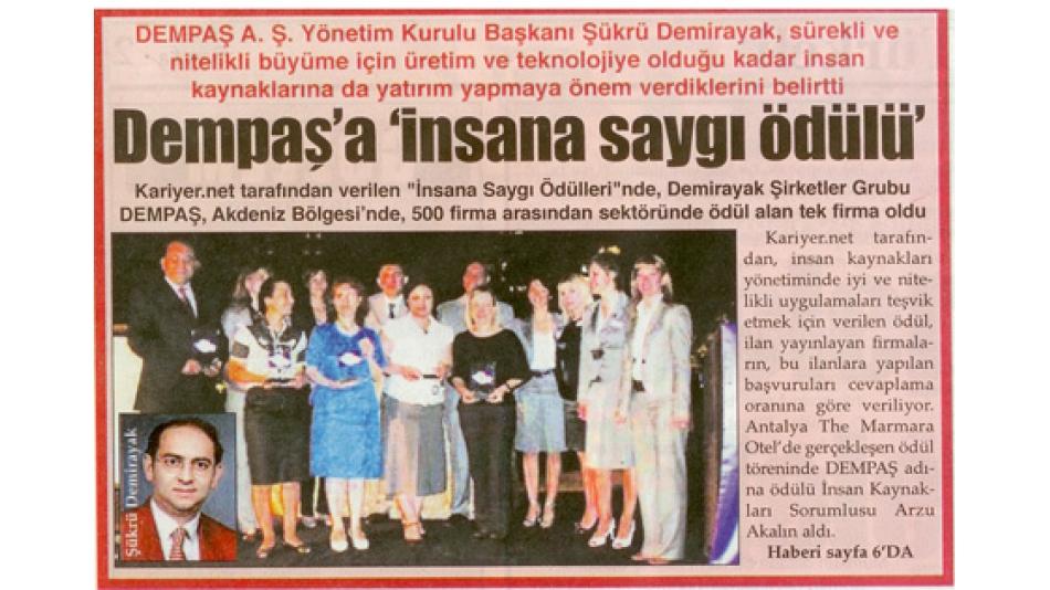 """DEMPAŞ''A"""" İNSANA SAYGI ÖDÜLÜ""""-Türkeli Gazetesi - 16.Haziran.2008'"""