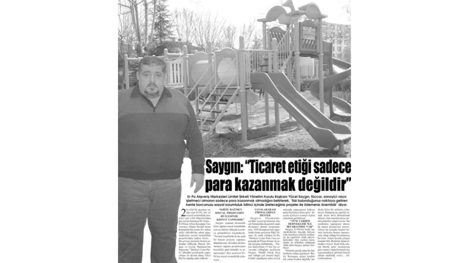 """""""Ticaret etiği sadece para kazanmak değildir"""" Gazete3-21.Mart.2009'"""