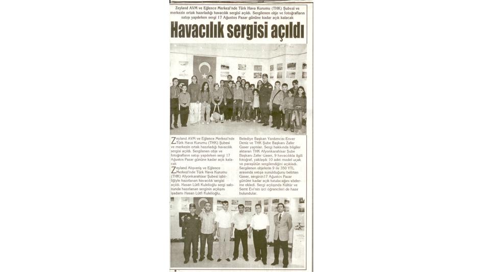 'Havacılık Sergisi Açıldı - Kocatepe Gazetesi - 09.Ağustos.2008'