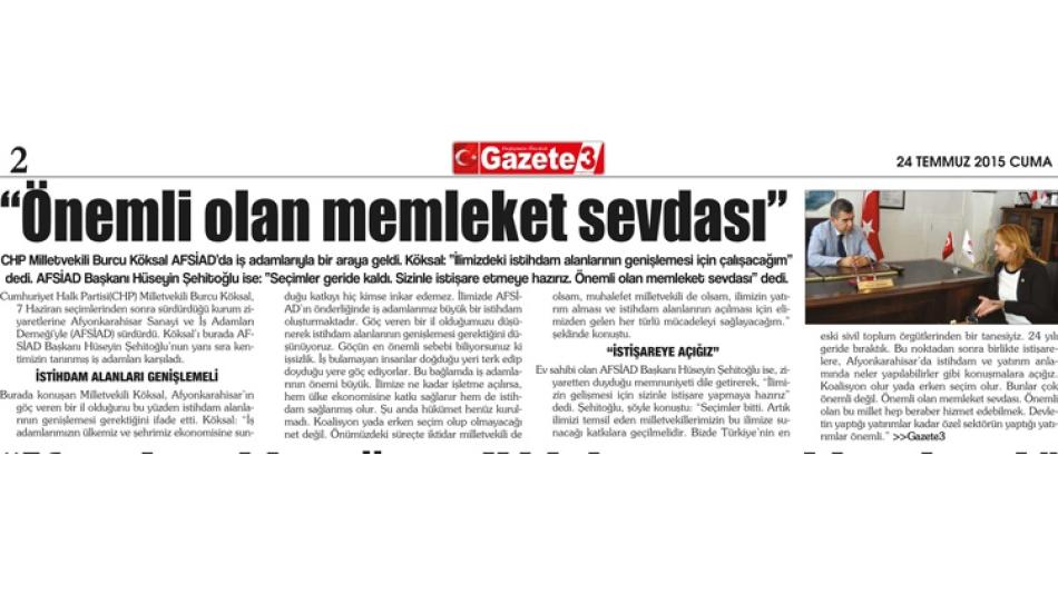 CHP Milletvekili Sayın Burcu KÖKSAL AFSİAD'ı ziyaret etti.