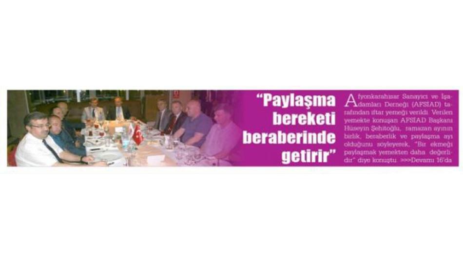 """AFSİAD İftar Yemeği """"Paylaşma bereketi beraberinde getirir"""""""