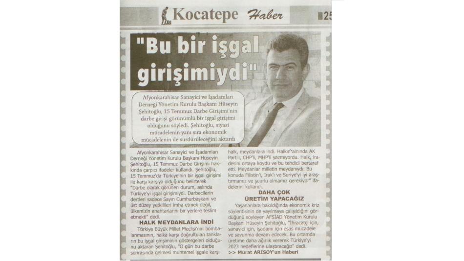 """""""Bu bir işgal girişimiydi""""Kocatepe Gazetesi 25.07.2016"""