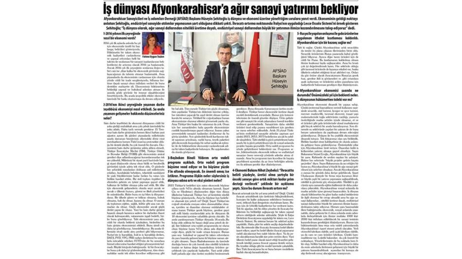 İş dünyası Afyonkarahisar'a ağır sanayi yatırı bekliyor.13.10.2016 Gazete3