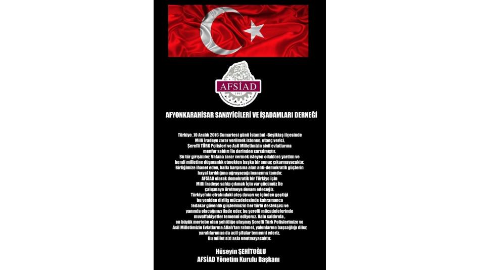 AFSİAD HER TÜRLÜ TERÖRÜ LANETLİYOR.11.12.2016
